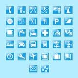 Uppsättning av flygplatstecken och symboler  Fotografering för Bildbyråer