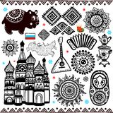 Uppsättning av folcloric symboler för ryss Arkivbild