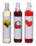 Uppsättning av färgglade fruktsaftflaskor Arkivbilder