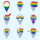 Uppsättning av färgrika översiktsmarkörer med regnbågeflaggan glada symboler Royaltyfria Bilder