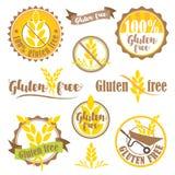 Uppsättning av fria logoer och emblem för gluten Fotografering för Bildbyråer