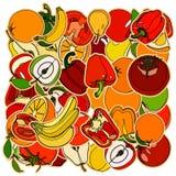 Uppsättning av frukter och vegetation Klotter tecknad filmteckning Vektor il Fotografering för Bildbyråer