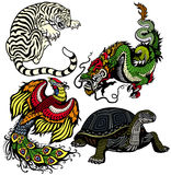 Uppsättning av fyra himmelska djur för fengshui Arkivfoto