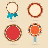 Uppsättning av fyra tappningutmärkelsebagdes Royaltyfri Fotografi