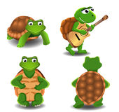 Uppsättning av fyra tecknad filmsköldpaddor Royaltyfri Fotografi