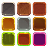 Uppsättning av fyrkantiga app-symboler Royaltyfri Bild