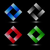 Uppsättning av fyrkantiga företags logoer Royaltyfri Foto