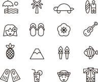 Uppsättning av gemet Art Hawaiian Icons Symbols Arkivbilder