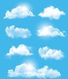 Uppsättning av genomskinliga olika moln Arkivfoton