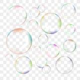 Uppsättning av genomskinliga vektorsåpbubblor Royaltyfri Fotografi