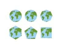 Uppsättning av geometriska former av världskartböcker Översikt av planetjord Arkivbild