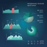 Uppsättning av grafer och diagram i modern materiell design Arkivbilder