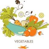 Uppsättning av grönsaker i tappningstil Royaltyfria Foton