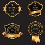 Uppsättning av guld- dekorativ utsmyckad svart guld--inramade etiketter Arkivfoton