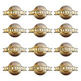 Uppsättning av guld- etiketter för 100% garanti Royaltyfri Bild