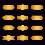 Uppsättning av guld- gränser och baner på svart bakgrund Arkivfoto