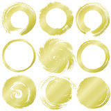 Uppsättning av guld- grungecirklar Royaltyfri Fotografi