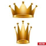 Uppsättning av guld- klassiska kunglig personkronor Konung och drottning Royaltyfri Foto