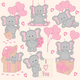 Uppsättning av gullig valentinelefantdel 2 Arkivbild