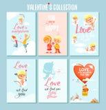 Uppsättning av gulliga romantiska tryckbara kort eller affischer för valentin dag Royaltyfri Bild