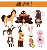 Uppsättning av gulliga tecknad filmdjur och fåglar av lantgården på en vit bakgrund Åsna får, häst, svin, höns, Turkiet, get, kan Arkivbilder