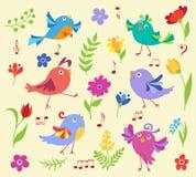 Uppsättning av gulliga vårmusikalfåglar Royaltyfria Bilder