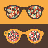 Uppsättning av hipstersolglasögon med trianglar och halvcirklar Royaltyfri Foto