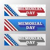 Uppsättning av horisontalbaner för modern vektor, sidatitelrader med text för Memorial Day Baner med band och stjärnor Arkivfoto
