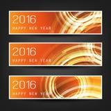 Uppsättning av horisontalbaner för nytt år med orange och röd bakgrund och genomskinliga koncentriska cirklar - 2016 Royaltyfri Foto