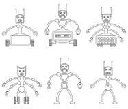 Uppsättning av ilskna onda robotar Royaltyfria Bilder