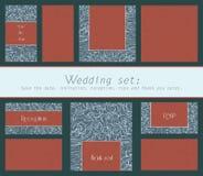 Uppsättning av inbjudan för bröllopkort, tacka dig att card, sparar datumkortet, RSVP-kort med virveln texturerade beståndsdelar Arkivfoton