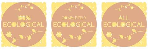 Uppsättning av isolerade ekologiska etiketter Royaltyfria Foton