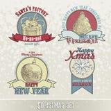 Uppsättning av julemblem och designer Arkivbild