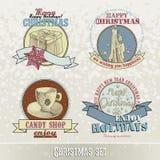 Uppsättning av julemblem och designer Royaltyfri Bild