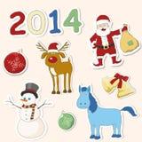 Uppsättning av julsymboler. Vektorillustration. Arkivfoto