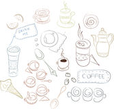 Uppsättning av kaffedisk, kakor, bakelser Royaltyfria Foton