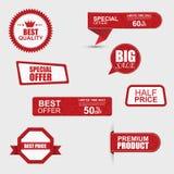 Uppsättning av kommersiella försäljningsklistermärkear, etiketter och baner Royaltyfria Bilder