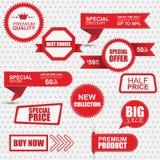 Uppsättning av kommersiella försäljningsklistermärkear, etiketter och baner Royaltyfri Bild