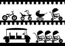 Uppsättning av kontursittvagnen, cykeln, den tandema cykeln och bilen för ungar, vektorillustrationer Arkivbilder