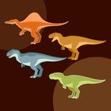 Uppsättning av köttätaredinosaurier Royaltyfria Bilder