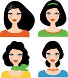 Uppsättning av kvinnliga huvud Royaltyfria Bilder