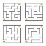 Uppsättning av labyrint för fyra vektor Fotografering för Bildbyråer