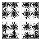 Uppsättning av labyrintlabyrinter Arkivfoto