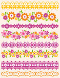 Uppsättning av Lace som är pappers- med blomman, vektor Royaltyfri Foto