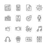 Uppsättning av linjen symboler för musik också vektor för coreldrawillustration Royaltyfri Bild