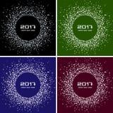 Uppsättning av ljusa färgrika för cirkelram för nytt år 2017 bakgrunder Arkivfoto