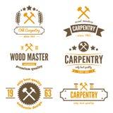 Uppsättning av logo-, etikett-, emblem- och logotypbeståndsdelar Arkivbild