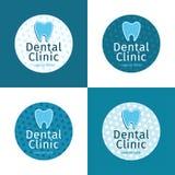 Uppsättning av logoer för tand- klinik Royaltyfri Bild