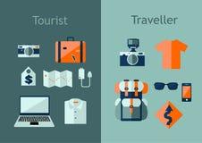 Uppsättning av loppsymboler i plan stil Begrepp för loppplan Vektorillustration med designbeståndsdelar, ryggsäck, översikt, kame Arkivfoton