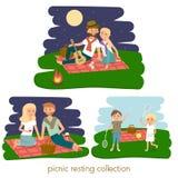Uppsättning av lyckligt vila för familjpicknick för par barn utomhus Sommarfamiljpicknick också vektor för coreldrawillustration Royaltyfri Bild